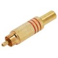 1660Plug RCA Metal Dourado 6 mm c/Mola-Vermelho