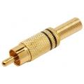 1665Plug RCA Metal Dourado 4 mm c/Mola-Preto
