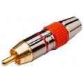 1685Plug RCA Dourado Profissional Vermelho
