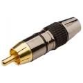 1686Plug RCA Dourado Profissional Preto