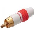 1687Plug RCA Dourado Esmaltado/Vermelho