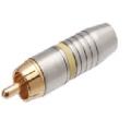 1700Plug RCA Profissional 6mm Estriado Amarelo/Dourado