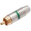 1701Plug RCA Profissional 6mm Estriado Verde/Dourado