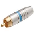 1702Plug RCA Profissional 6mm Estriado Azul/Dourado