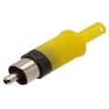 1651Plug RCA Plastico Amarelo c/ Rabicho Niquelado